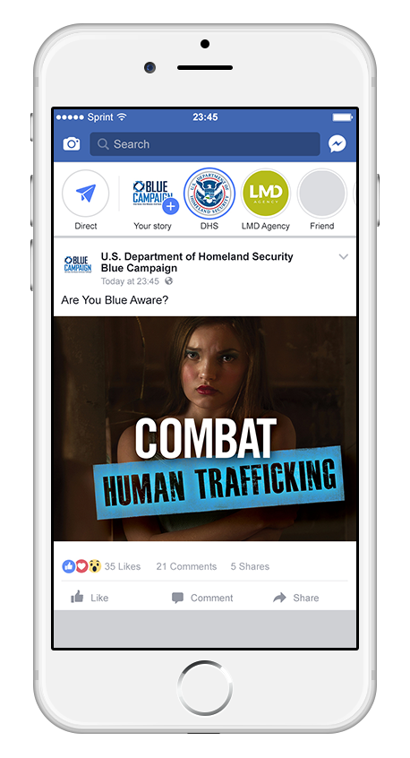 DHS Blue Campaign Facebook Post